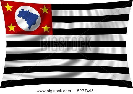Brazilian state of Sao Paulo official flag symbol. Brasil banner background. Federative Republic of Brazil patriotic element. Correct colors. Flag of Sao Paulo wavy isolated on white 3d illustration