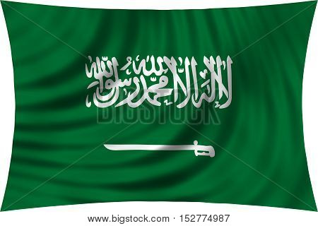 Saudi Arabian national official flag. Patriotic symbol banner element background. Correct colors. Flag of Saudi Arabia waving isolated on white 3d illustration