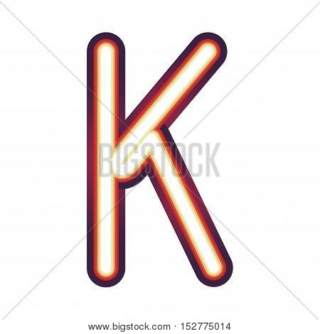 Glowing neon colorful letter K over white background. vector illustration
