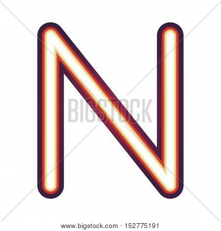 Glowing neon colorful letter N over white background. vector illustration