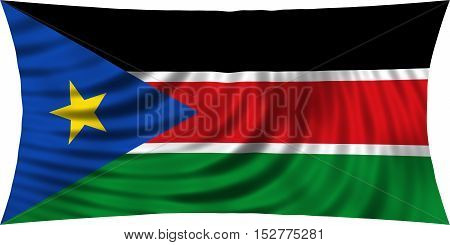 South Sudanese national official flag. African patriotic symbol banner element background. Correct colors. Flag of South Sudan waving isolated on white 3d illustration