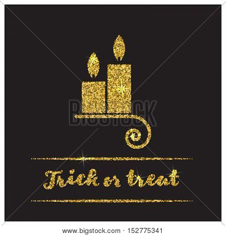Halloween gold textured candle icon on black background. Golden design element for festive banner, greeting and invitation card, flyer, tag, poster, postcard, advertisement. Vector illustration.