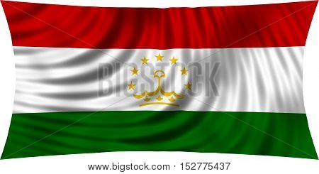 Tajikistani national official flag. Patriotic symbol banner element background. Correct colors. Flag of Tajikistan waving isolated on white 3d illustration