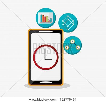 Smartphone and clock icon. Social media and digital marketing theme. Colorful design. Vector illustration