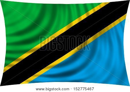Tanzanian national official flag. African patriotic symbol banner element background. Correct colors. Flag of Tanzania waving isolated on white 3d illustration