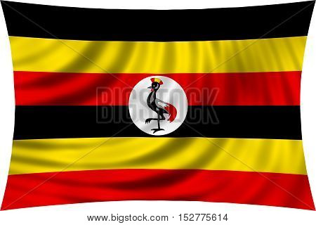 Ugandan national official flag. African patriotic symbol banner element background. Correct colors. Flag of Uganda waving isolated on white 3d illustration