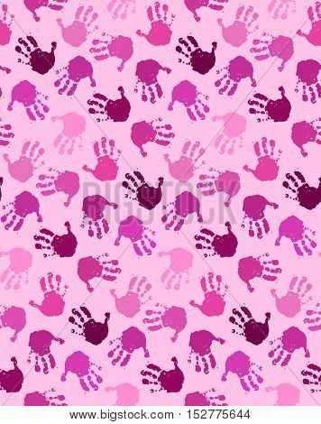 Seamless pattern with chaotic baby hands in shades of pink color. No gradient fill sample in swatch panel. Vector illustration