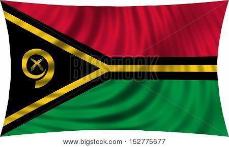 Vanuatuan national official flag. Patriotic symbol banner element background. Correct colors. Flag of Vanuatu waving isolated on white 3d illustration