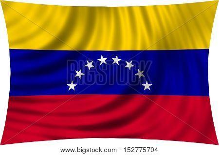 Venezuelan national official flag. Bolivarian Republic of Venezuela patriotic symbol banner element background. Correct colors. Flag of Venezuela waving isolated on white 3d illustration