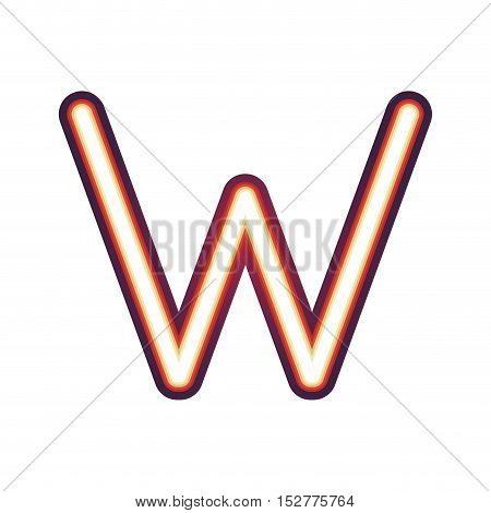 Glowing neon colorful letter W over white background. vector illustration
