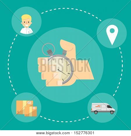 Human hand points at stopwatch timer isolated on green background. Fast delivery banner, vector illustration. Shipping and moving service. Professional courier service.