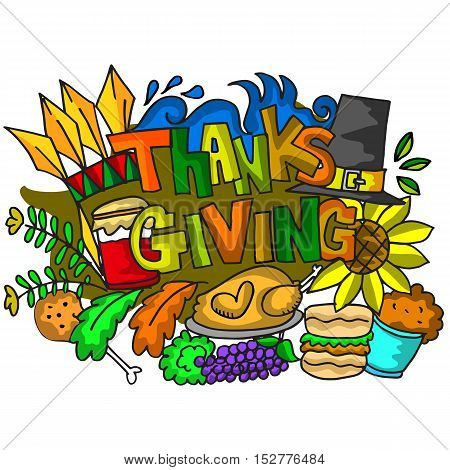 Doodle art of thanksgiving elements vector illustration