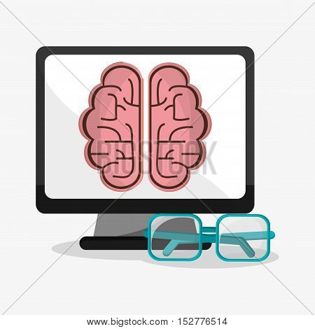 Computer brain and glasses icon. Social media and digital marketing theme. Colorful design. Vector illustration