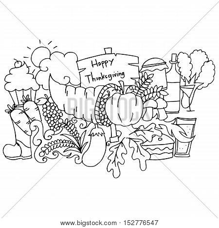Hand draw of thanksgiving doodle art vector