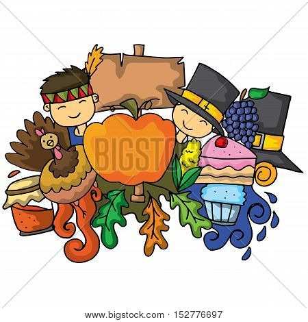 Vector illustration of thanksgiving doodle art collection