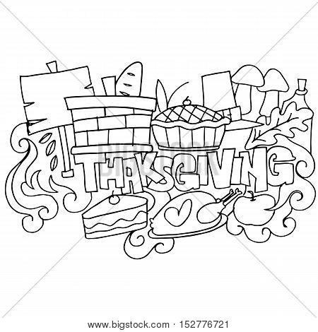 Hand draw thanksgiving element doodles art vector