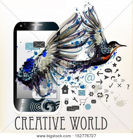 Abstract blank screen phone with ink spots and hummingbird. Creative world
