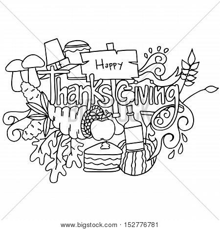 Doodle art of thanksgiving hand draw vector illustration