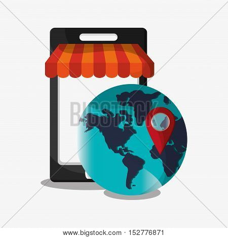 Smartphone and planet icon. Social media and digital marketing theme. Colorful design. Vector illustration