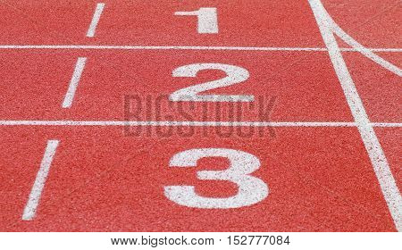 running track start and number line in sport field