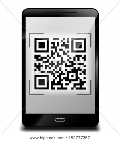 Illustration of smartphone design with qr code