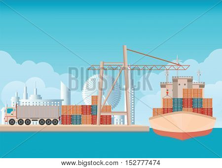 Loading containers on a sea freight cargo ship with crane background with blue sky and clouds transportation flat design vector illustration.
