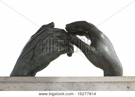 Sculpture Of Two Hands Touching