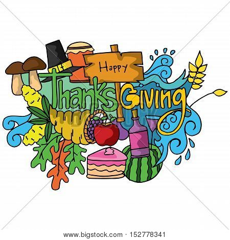Thanksgiving colorful doodle art vector collection stock