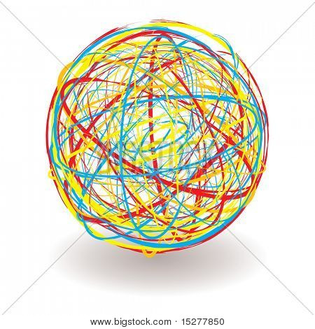 elastic or rubber band ball illustration with bright colors and shadow