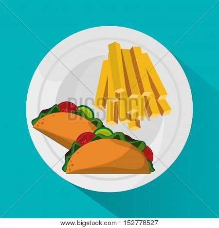 French fries and taco icon. Fast food menu and market theme. Colorful design. Vector illustration