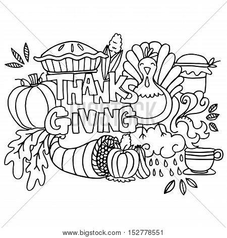 Doodle art happy thanksgiving element vector illustration