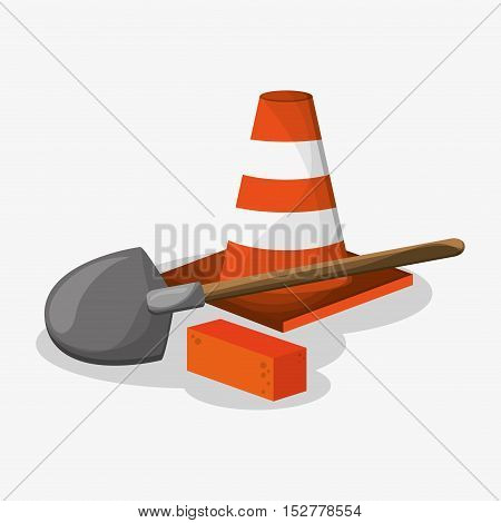 Cone shovel and brick icon. Under construction work repair and progress theme. Colorful design. Vector illustration