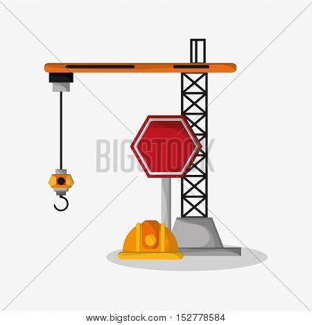 Crane helmet and stop sign icon. Under construction work repair and progress theme. Colorful design. Vector illustration
