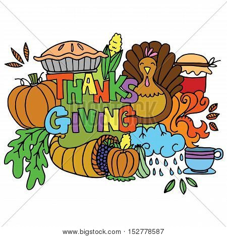 Element thanksgiving of doodle art vector illustration