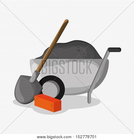 Wheelbarrow shovel and brick icon. Under construction work repair and progress theme. Colorful design. Vector illustration