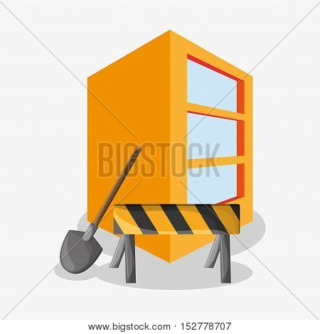 Barrier shovel and building icon. Under construction work repair and progress theme. Colorful design. Vector illustration
