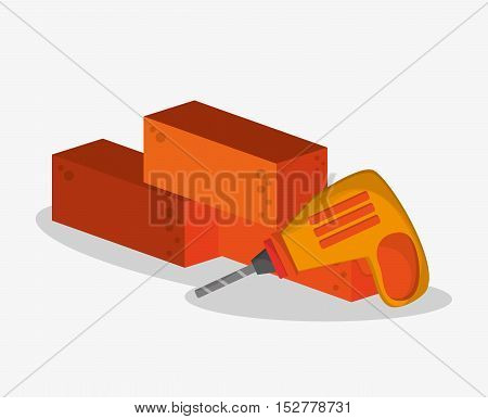 Bricks and drill icon. Under construction work repair and progress theme. Colorful design. Vector illustration