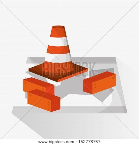 Cone and brick icon. Under construction work repair and progress theme. Colorful design. Vector illustration