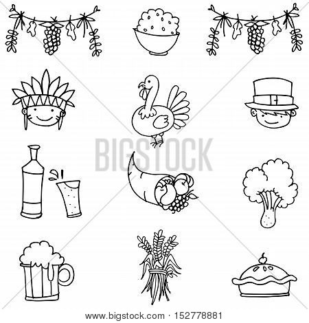 Doodle of object thanksgiving set hand draw