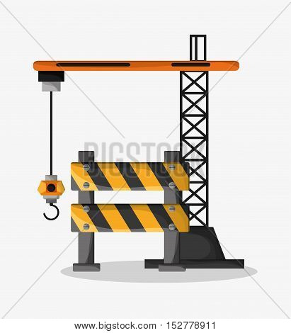 Barrier and crane icon. Under construction work repair and progress theme. Colorful design. Vector illustration