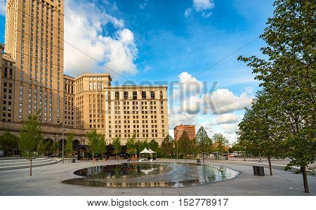 The splash pond and fountains in Cleveland's newly renovated Public Square
