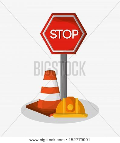 Stop sign cone and helmet icon. Under construction work repair and progress theme. Colorful design. Vector illustration