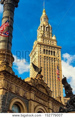 Cleveland's Terminal Tower rises above Soldiers and Sailors Monument the venerable Civil War memorial on Public Square