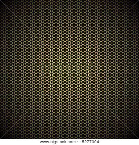 Gold metal hexagon grill background with light reflection