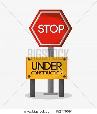 Stop sign icon. Under construction work repair and progress theme. Colorful design. Vector illustration
