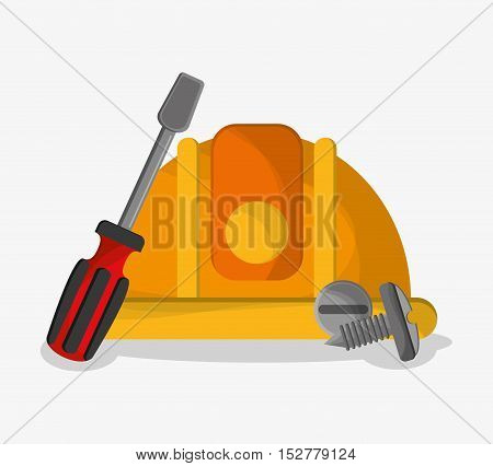 Helmet and screwdriver icon. Under construction work repair and progress theme. Colorful design. Vector illustration