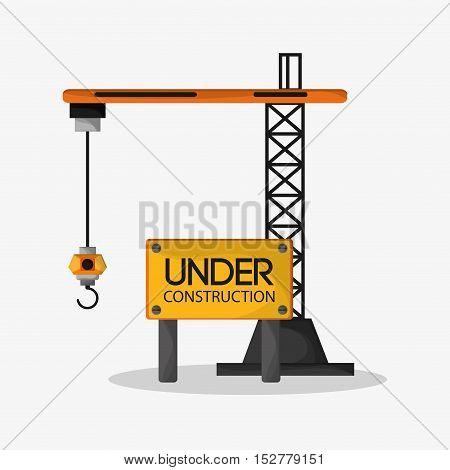Crane icon. Under construction work repair and progress theme. Colorful design. Vector illustration