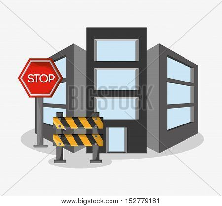 Barrier stop sign and building icon. Under construction work repair and progress theme. Colorful design. Vector illustration
