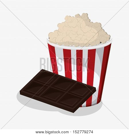 Pop corn and chocolate icon. Fast food menu and market theme. Colorful design. Vector illustration