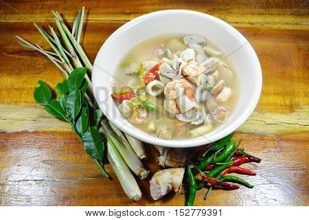 seafood Tom Yam hot soup and mixed herb